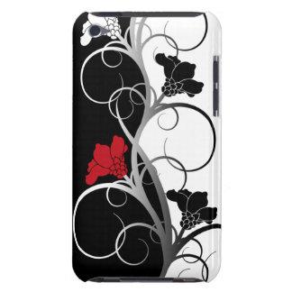 Caso del tacto 4 de iPod de las flores negras/blan iPod Case-Mate Carcasa