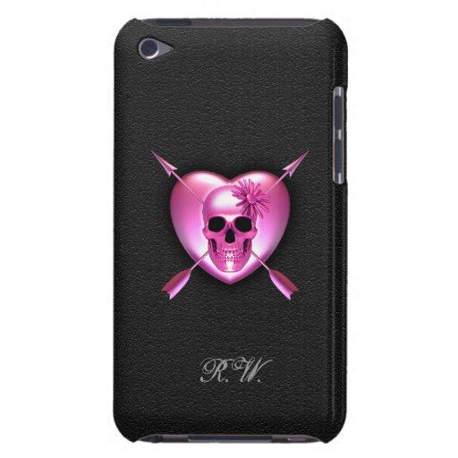 Caso del tacto de iPod rosado del corazón y del cr Barely There iPod Protectores