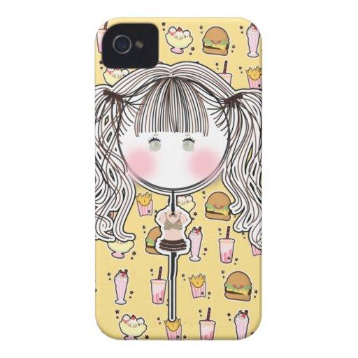 Caso delicioso de Iphone de la muñeca de Kawaii iPhone 4 Case-Mate Coberturas