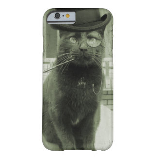 Caso divertido del iPhone del gato de Steampunk Funda De iPhone 6 Barely There