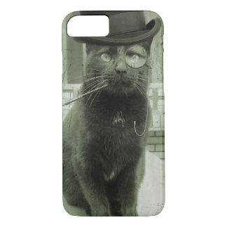 Caso divertido del iPhone del gato de Steampunk Funda iPhone 7
