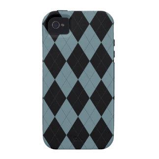 Caso DURO del iPhone 4 azules claros y negros de A Case-Mate iPhone 4 Funda