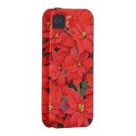 Caso duro del iPhone 4 de los Poinsettias rojos iPhone 4 Funda