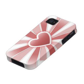 Caso duro del iPhone 4 del corazón Vibe iPhone 4 Funda