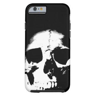 Caso duro del iPhone 6 del cráneo negro y blanco Funda Para iPhone 6 Tough