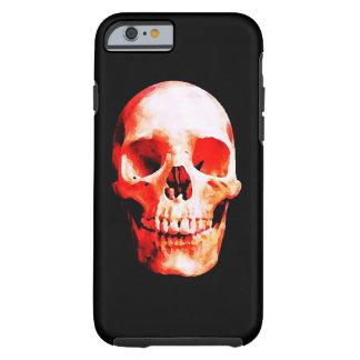 Caso duro del iPhone 6 del cráneo negro y rojo Funda Para iPhone 6 Tough