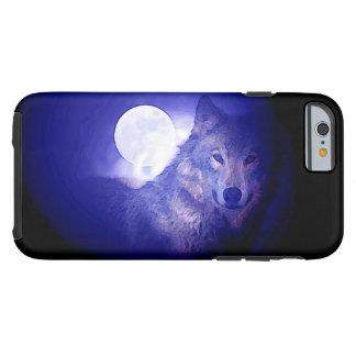 Caso duro del iPhone 6 del lobo y de la noche azul Funda Para iPhone 6 Tough