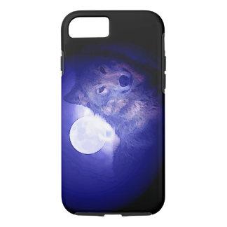 Caso duro del iPhone 7 del lobo y de la noche azul Funda iPhone 7