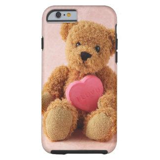 caso duro del iphone del luv u del oso de peluche funda de iPhone 6 tough
