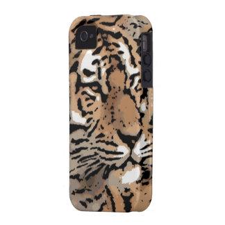Caso duro del iphone del tigre salvaje artístico iPhone 4 carcasas