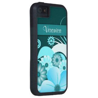 Caso duro floral 5S del iPhone 5 del hibisco azul Funda Para iPhone 5 Tough Xtreme