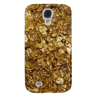 Caso duro vivo de HTC de las pepitas de oro Funda Para Galaxy S4