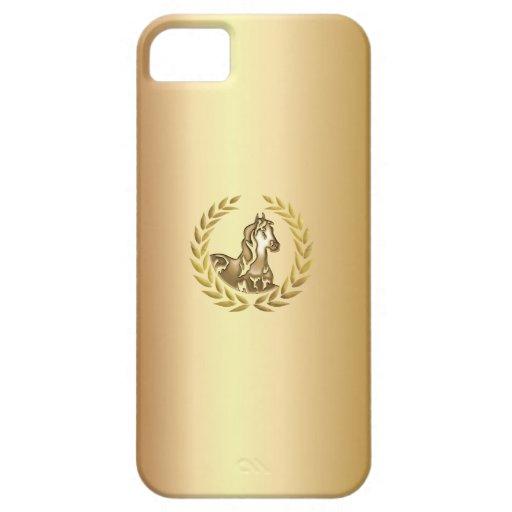 Caso ecuestre del iPhone 5 del oro del símbolo de  iPhone 5 Case-Mate Fundas