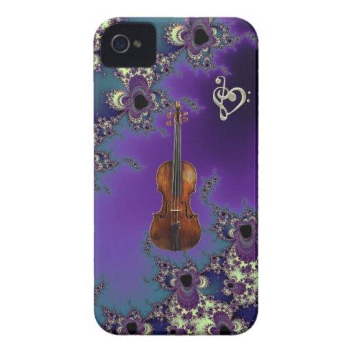 Caso elegante de la música del amor del violín iPhone 4 protector