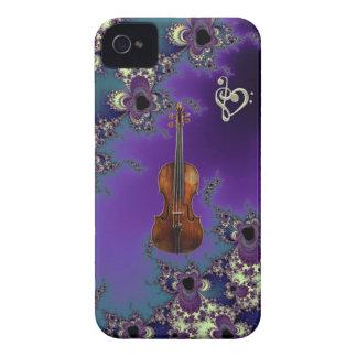 Caso elegante de la música del amor del violín par iPhone 4 protector