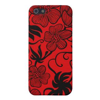 Caso elegante del iphone 4 de las flores rojas y n iPhone 5 fundas