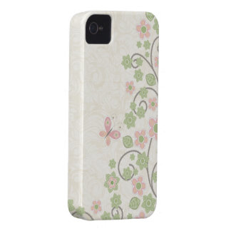 Caso elegante del iphone 4 del estampado de flores iPhone 4 protectores