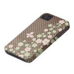 Caso elegante del iphone 4 del estampado de flores iPhone 4 protector