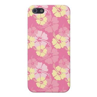 Caso elegante del iphone 4 del hibisco amarillo ro iPhone 5 cobertura