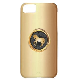 Caso elegante del iPhone 5 del caballo del oro