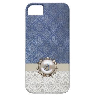 Caso elegante del iPhone 5 del damasco del azul y  iPhone 5 Cobertura
