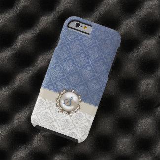 Caso elegante del iPhone 6 del damasco del azul y Funda Resistente iPhone 6