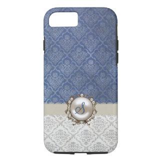 Caso elegante del iPhone 7 del damasco del azul y Funda iPhone 7