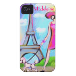 Caso elegante del iPhone de la mujer de París Case-Mate iPhone 4 Funda