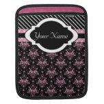 Caso elegante del rosa y del negro del damasco mangas de iPad