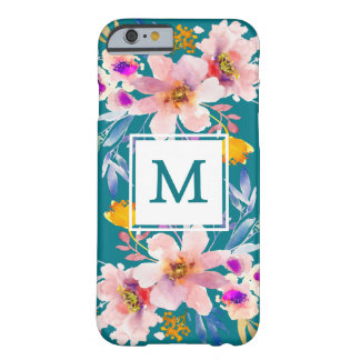 Caso elegante floral del iPhone 6/6s del monograma Funda Barely There iPhone 6