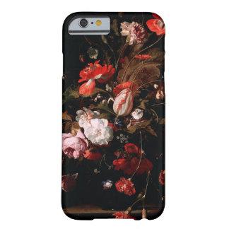 Caso elegante floral del iPhone del vintage negro Funda De iPhone 6 Barely There
