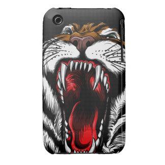 Caso enojado del iPhone 3 de la cara del tigre iPhone 3 Case-Mate Protector
