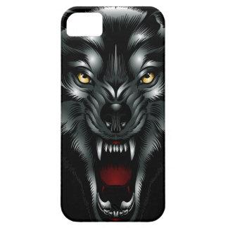 Caso enojado del iPhone 5 de la cara del lobo Funda Para iPhone 5 Barely There