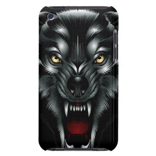Caso enojado del tacto de iPod de la cara del lobo iPod Case-Mate Funda