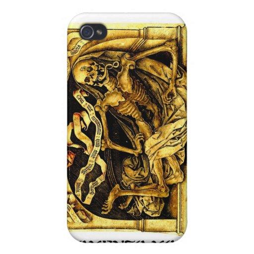 Caso esquelético de Momento Mori iPhone 4 Protectores