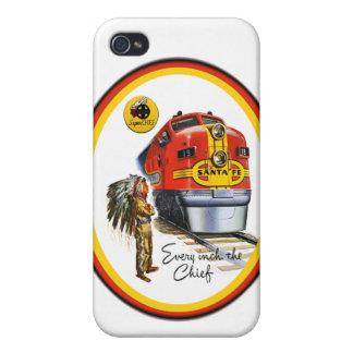Caso estupendo de IPhone 4 del tren de Santa Fe pr iPhone 4 Protectores