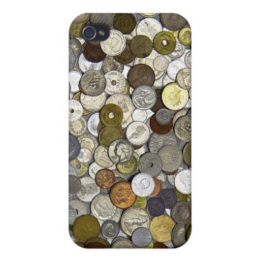 Caso extranjero del iPhone 4 de las monedas iPhone 4 Fundas