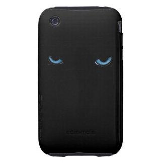 Caso felino del negro de iPod de los ojos enojados Tough iPhone 3 Carcasas