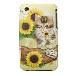 Caso feliz del iPhone 3 del gato y de la abeja de Case-Mate iPhone 3 Funda