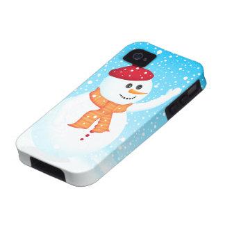 Caso feliz del iPhone 4 4S del muñeco de nieve