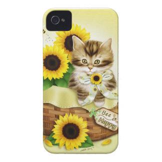 Caso feliz del iPhone 4 del gato y de la abeja de iPhone 4 Case-Mate Coberturas