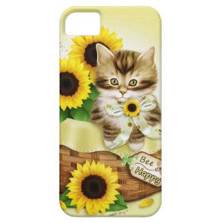 Caso feliz del iPhone 5 del gato y de la abeja de Funda Para iPhone 5 Barely There