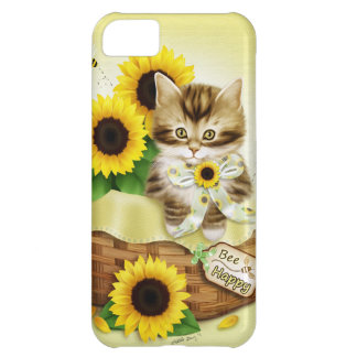 Caso feliz del iPhone 5 del gato y de la abeja de  Funda Para iPhone 5C