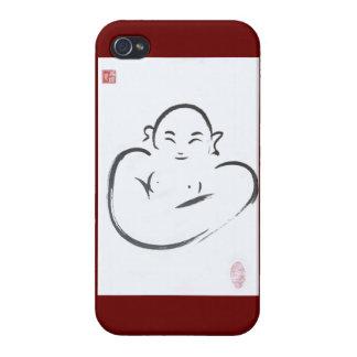 Caso feliz del iPhone de la tinta de Hotei Buda iPhone 4 Funda