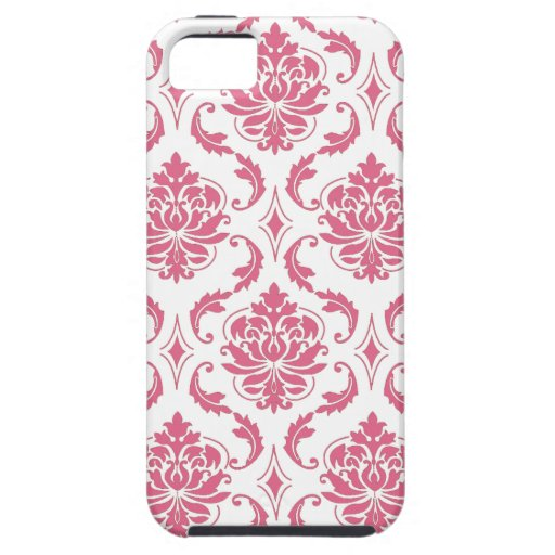 Caso femenino del iPhone 5 del damasco blanco rosa iPhone 5 Case-Mate Cárcasa