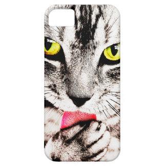 Caso feroz de Iphone del gato de Tabby iPhone 5 Fundas