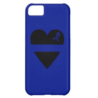 Caso fino del iPhone 5C del corazón de Blue Line