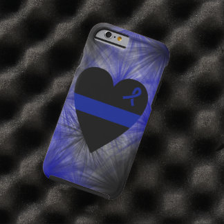 Caso fino del iPhone 6 del corazón de Blue Line Funda De iPhone 6 Tough