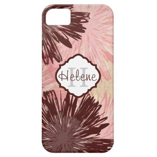 Caso floral abstracto del iPhone 5 del monograma iPhone 5 Carcasa