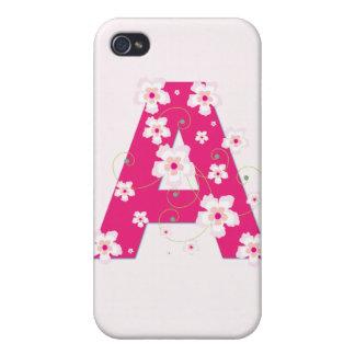 Caso floral bonito del iphone 4 de la inicial A de iPhone 4 Coberturas